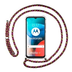 Funda Colgante Transparente para Motorola Moto E7 con Cordon Rosa / Dorado