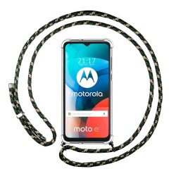 Funda Colgante Transparente para Motorola Moto E7 con Cordon Verde / Dorado