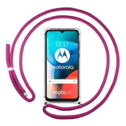 Funda Colgante Transparente para Motorola Moto E7 con Cordon Rosa Fucsia