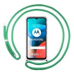 Funda Colgante Transparente para Motorola Moto E7 con Cordon Verde Agua