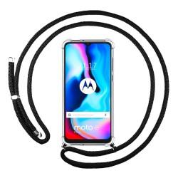 Funda Colgante Transparente para Motorola Moto G9 Power con Cordon Negro