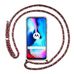Funda Colgante Transparente para Motorola Moto G9 Power con Cordon Rosa / Dorado