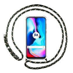 Funda Colgante Transparente para Motorola Moto G9 Power con Cordon Verde /Dorado