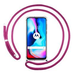 Funda Colgante Transparente para Motorola Moto G9 Power con Cordon Rosa Fucsia