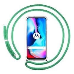 Funda Colgante Transparente para Motorola Moto G9 Power con Cordon Verde Agua