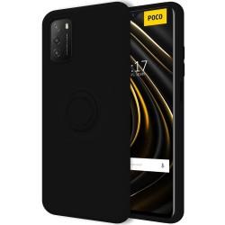 Funda Silicona Líquida Ultra Suave con Anillo para Xiaomi POCO M3 / Redmi 9T color Negro