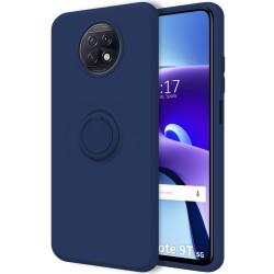 Funda Silicona Líquida Ultra Suave con Anillo para Xiaomi Redmi Note 9T 5G color Azul