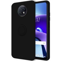 Funda Silicona Líquida Ultra Suave con Anillo para Xiaomi Redmi Note 9T 5G color Negro