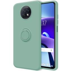 Funda Silicona Líquida Ultra Suave con Anillo para Xiaomi Redmi Note 9T 5G color Verde