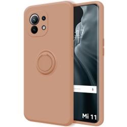 Funda Silicona Líquida Ultra Suave con Anillo para Xiaomi Mi 11 / Mi 11 Pro color Rosa