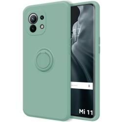 Funda Silicona Líquida Ultra Suave con Anillo para Xiaomi Mi 11 / Mi 11 Pro color Verde