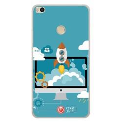 Funda Gel Tpu para Xiaomi Mi Max 2 Diseño Cohete Dibujos