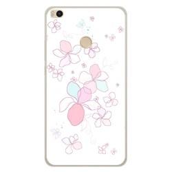 Funda Gel Tpu para Xiaomi Mi Max 2 Diseño Flores Minimal Dibujos