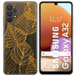 Funda Gel Transparente para Samsung Galaxy A32 4G diseño Hojas Dibujos