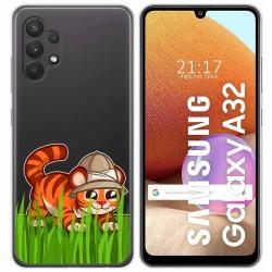 Funda Gel Transparente para Samsung Galaxy A32 4G diseño Tigre Dibujos