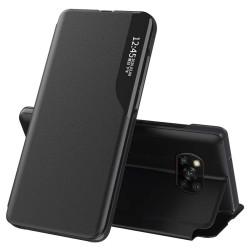 Funda Libro Soporte Magnética Eco Piel con Ventana para Xiaomi POCO X3 NFC / X3 Pro Negra