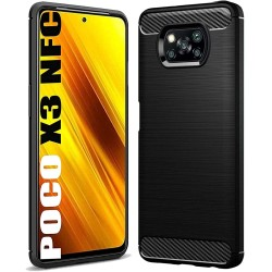 Funda Gel Tpu Tipo Carbon Negra para Xiaomi POCO X3 NFC / X3 PRO