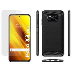 Pack 2 En 1 Funda Gel Tipo Carbono + Protector Cristal Templado para Xiaomi POCO X3 NFC / X3 PRO