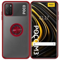 Funda Mate con Borde Rojo y Anillo Giratorio 360 para Xiaomi POCO M3 / Redmi 9T