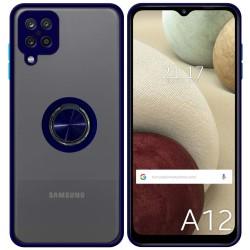 Funda Mate con Borde Azul y Anillo Giratorio 360 para Samsung Galaxy A12