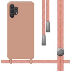 Funda Silicona Líquida con Cordón para Samsung Galaxy A32 5G Color Rosa