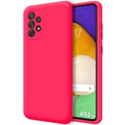 Funda Silicona Líquida Ultra Suave para Samsung Galaxy A52 / A52 5G Color Rosa Fucsia