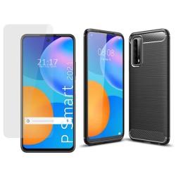 Pack 2 En 1 Funda Gel Tipo Carbono + Protector Cristal Templado para Huawei P Smart 2021