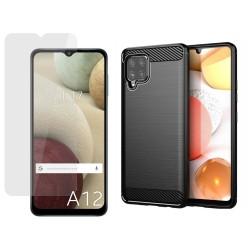 Pack 2 En 1 Funda Gel Tipo Carbono + Protector Cristal Templado para Samsung Galaxy A12