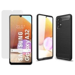 Pack 2 En 1 Funda Gel Tipo Carbono + Protector Cristal Templado para Samsung Galaxy A32 4G