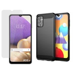 Pack 2 En 1 Funda Gel Tipo Carbono + Protector Cristal Templado para Samsung Galaxy A32 5G