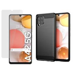 Pack 2 En 1 Funda Gel Tipo Carbono + Protector Cristal Templado para Samsung Galaxy A42 5G