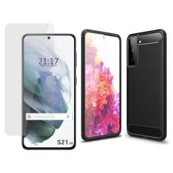Pack 2 En 1 Funda Gel Tipo Carbono + Protector Cristal Templado para Samsung Galaxy S21 5G