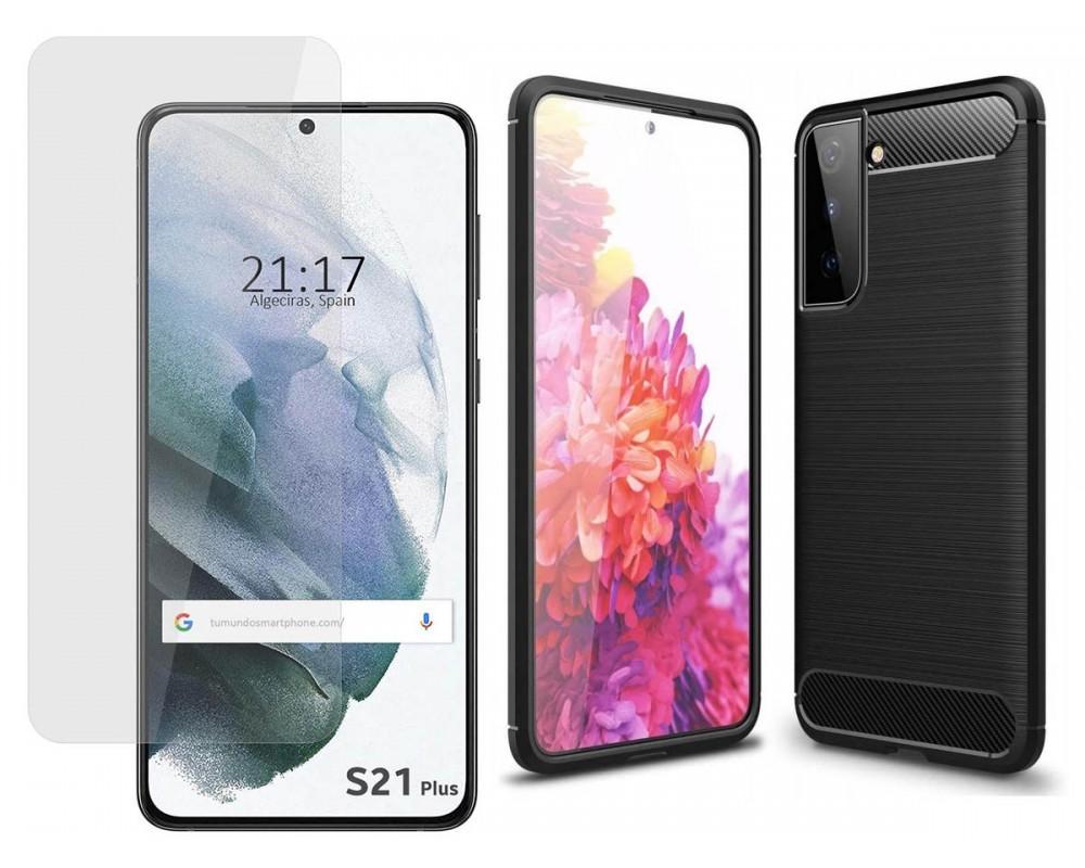 Pack 2 En 1 Funda Gel Tipo Carbono + Protector Cristal Templado para Samsung Galaxy S21+ Plus 5G