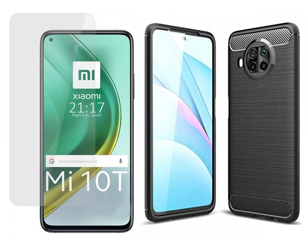 Pack 2 En 1 Funda Gel Tipo Carbono + Protector Cristal Templado para Xiaomi Mi 10T / MI 10T Pro