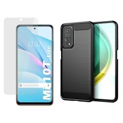 Pack 2 En 1 Funda Gel Tipo Carbono + Protector Cristal Templado para Xiaomi Mi 10T Lite