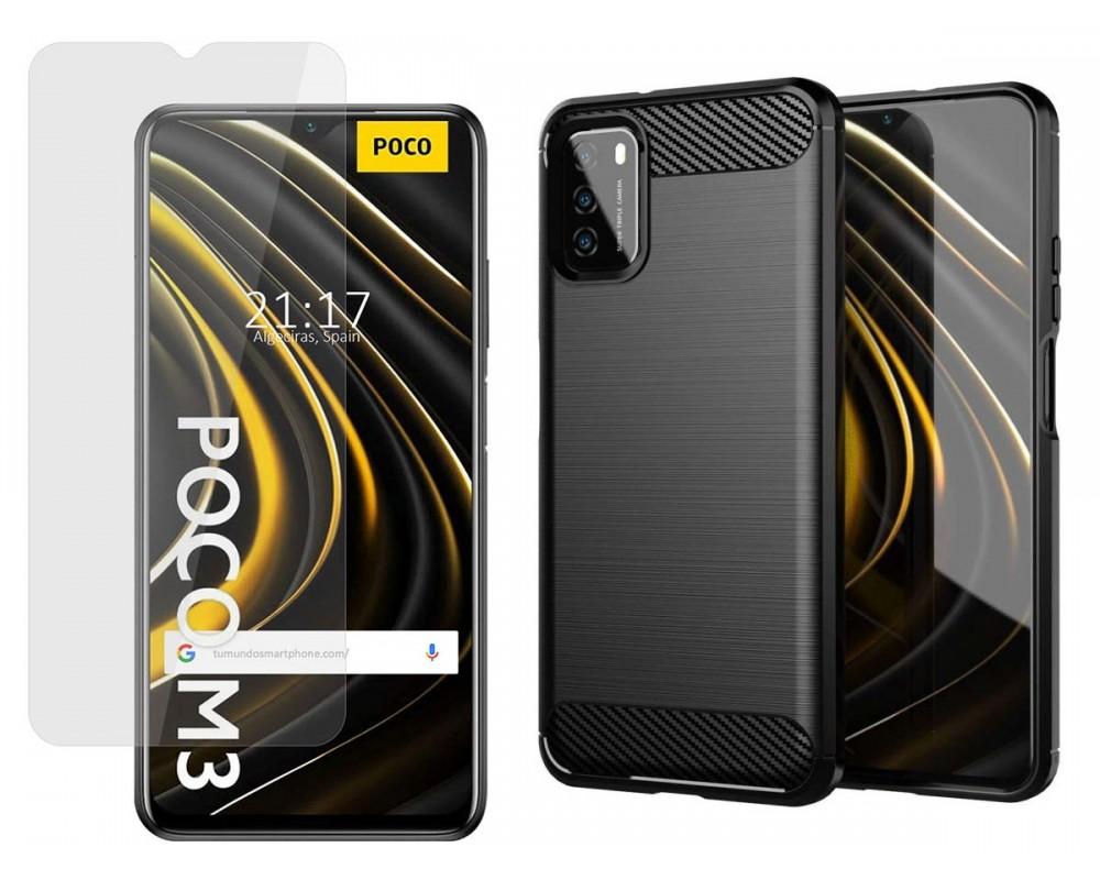 Pack 2 En 1 Funda Gel Tipo Carbono + Protector Cristal Templado para Xiaomi POCO M3 / Redmi 9T