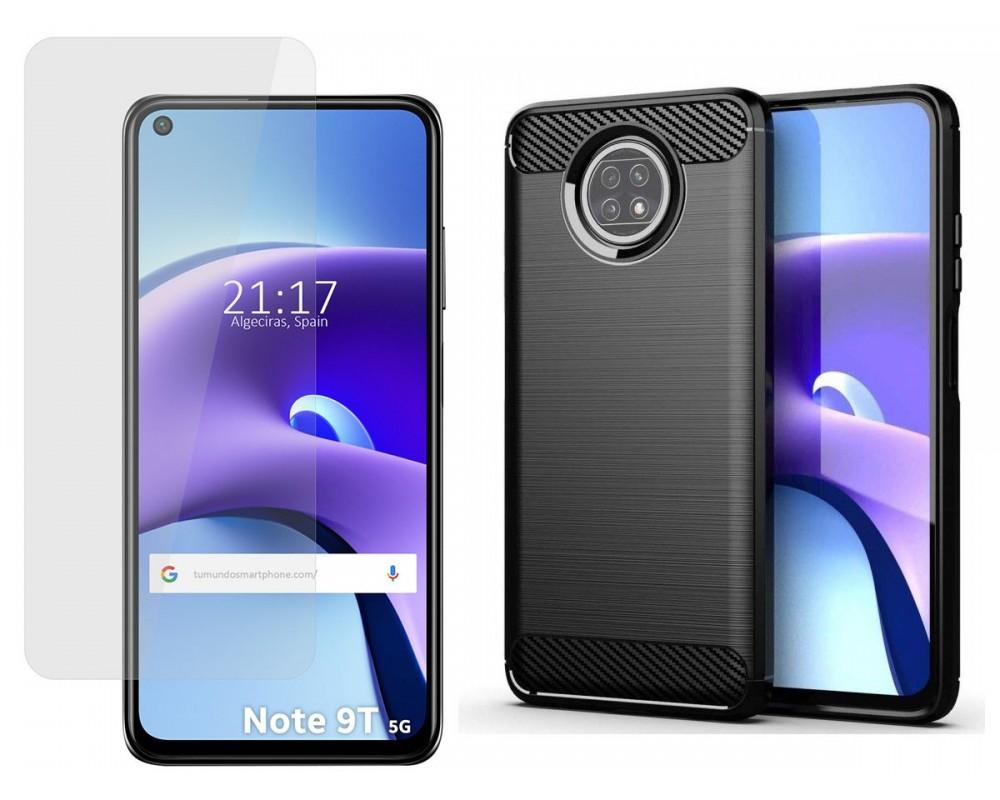 Pack 2 En 1 Funda Gel Tipo Carbono + Protector Cristal Templado para Xiaomi Redmi Note 9T 5G