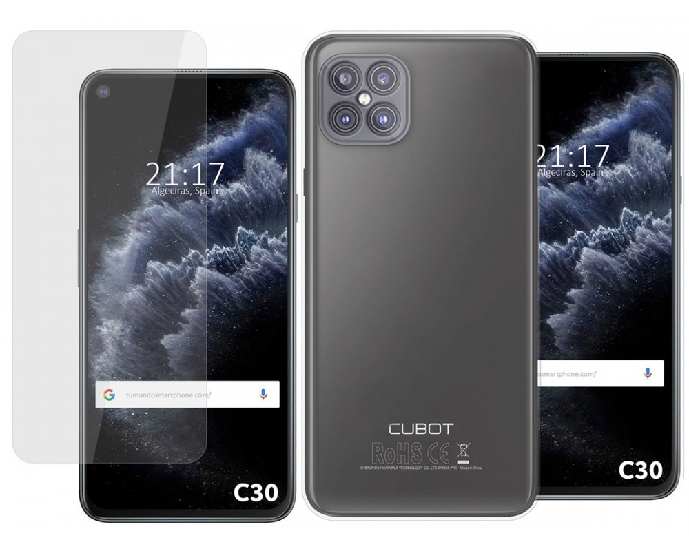 Pack 2 En 1 Funda Gel Transparente + Protector Cristal Templado para Cubot C30