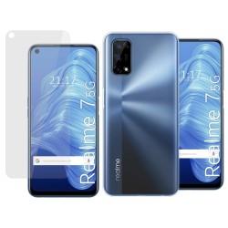 Pack 2 En 1 Funda Gel Transparente + Protector Cristal Templado para Realme 7 5G