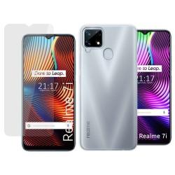 Pack 2 En 1 Funda Gel Transparente + Protector Cristal Templado para Realme 7i