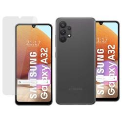 Pack 2 En 1 Funda Gel Transparente + Protector Cristal Templado para Samsung Galaxy A32 4G