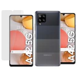 Pack 2 En 1 Funda Gel Transparente + Protector Cristal Templado para Samsung Galaxy A42 5G
