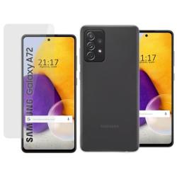 Pack 2 En 1 Funda Gel Transparente + Protector Cristal Templado para Samsung Galaxy A72