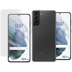 Pack 2 En 1 Funda Gel Transparente + Protector Cristal Templado para Samsung Galaxy S21+ Plus 5G