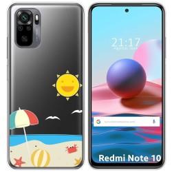 Funda Gel Transparente para Xiaomi Redmi Note 10 / 10S diseño Playa Dibujos