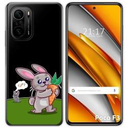 Funda Gel Transparente para Xiaomi Poco F3 diseño Conejo Dibujos