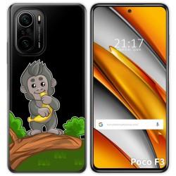Funda Gel Transparente para Xiaomi Poco F3 diseño Mono Dibujos