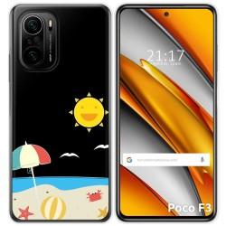 Funda Gel Transparente para Xiaomi Poco F3 diseño Playa Dibujos