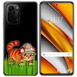 Funda Gel Transparente para Xiaomi Poco F3 diseño Tigre Dibujos