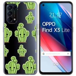 Funda Gel Transparente para Oppo Find X3 Lite diseño Cactus Dibujos
